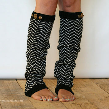 Chevron Crest : BLACK Chevron Leg Warmers w/ Assorted Gold Metal Military Buttons  (item no. 1-2)