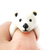 Polar Bear Teddy Shaped Enamel Animal Ring in US Size 7 and 8   Limited Edition
