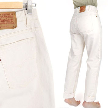 Vintage 90s Ecru Levi's 551 High Waisted Mom Jeans - Size 10 -  Womens Off White Relaxed Fit Loose Tapered Jeans  - Made in USA Levis