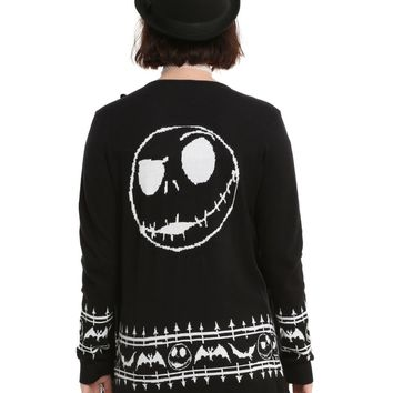 Licensed cool Disney The Nightmare Before Christmas Open Cardigan Sweater Jack Bat Border S-XL