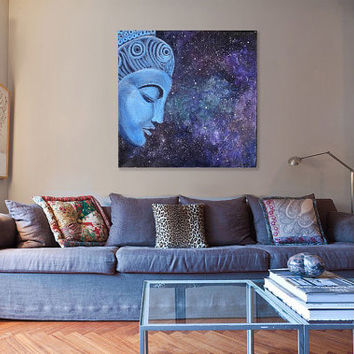 Buddha Spiritual Art - Zen Painting - Art for Yoga Room - Meditation Art - Nebula Galaxy - Blue Buddha - Asian Decor