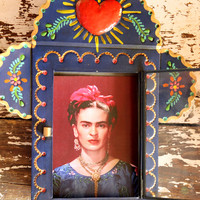Frida Kahlo Portrait Painted Tin Nicho