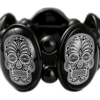 Joolz Hayworth Sugar Skull in Black Cameo Stretch Bracelet