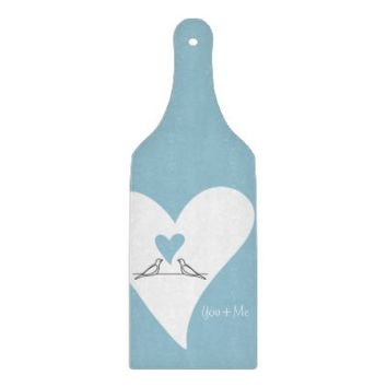 Cute White Doves in Love Personalized Decorative Glass Cutting Boards: You & Me: Wedding or Anniversary Gift Idea