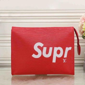 PEAP LV x Supreme Women Fashion Clutch Bag Leather File Bag Tote Handbag