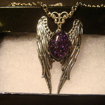 Purple Dichroic Glass Angel Wing Necklace in Antique Silver  (1016)