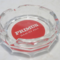 Primus Haacht Ashtray . Glass Beer Advertising Ashtray . Belgian Beer . Haecht .