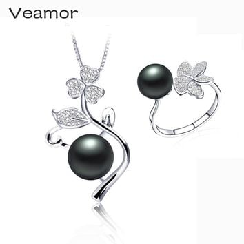 Veamor Wedding Jewelry Sets For Brides Pearl Necklace Set 925 silver Rings Costume Design Jewelry Party Gifts With Free Box