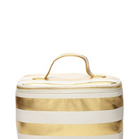Striped Metallic Cosmetic Case