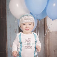 Baby Boys 1st Birthday Outfit Gray Baby Blue, Cake Smash