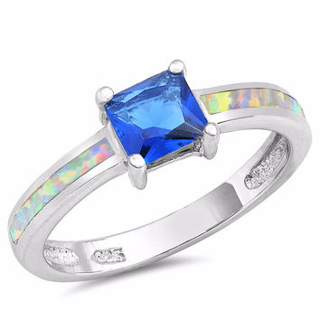 Sterling Silver CZ Lab White Opal Simulated Blue Sapphire Princess-Cut Center Ring