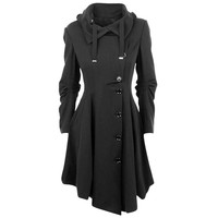 Wholesale Stylish Turn-Down Collar Long Sleeve Asymmetrical Button Design Coat For Women (BLACK,L), Jackets & Coats - Rosewholesale.com