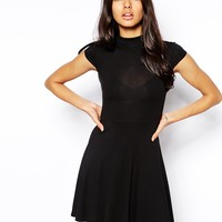 Club L Essentials High Neck Skater Dress - Black