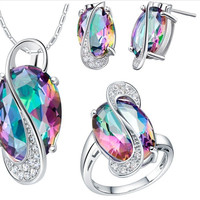 Oval Wedding JewelrySet Bride Bridesmaids Earrings Ring Necklace Crystal 925 Sterling Silver