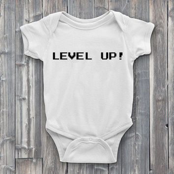 Level up Onesuit, gamer Onesuits, onsies, level up, video games, baby Onesuits, baby shower gifts, baby