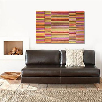 """Abstract Acrylic Painting Original Fine Art 30""""x40"""" by Linnea Heide - red gold brown copper - contemporary - geometric"""