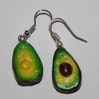Avocado Earrings , handmade avocado earrings, polymer clay earrings, realistic food, miniature food jewelry, Polymer Clay Food
