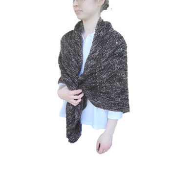 Knitted Shawl with Eyelets, Dark Brown, Large Warm Prayer Statement, Cozy Cuddly