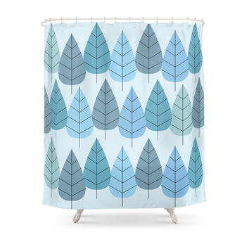 Society6 Mid Century Trees In Blue Shower Curtain