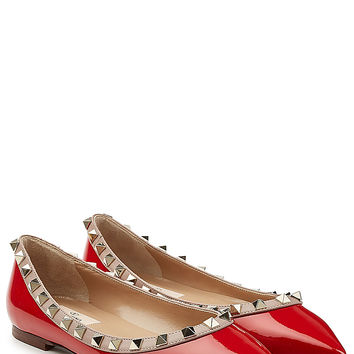 Valentino - Two-Tone Patent Leather Rockstud Ballet Flats