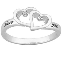 Diamond Accent Couple's Name Ring in Platinum-Plated Sterling Silver (2 Names) - View All Personalized Jewelry - Zales