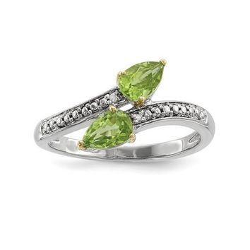 Sterling Silver And 14K Gold Double Peridot Pear Diamond ByPass Ring