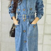 Blue Long Sleeve Denim Trench Coat