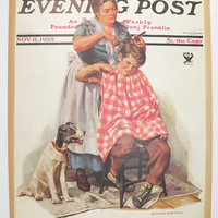 Boy Gets Haircut Vintage Color Print 1933 Saturday Evening Post Cover, Apple Eating Apple Print, Hairdresser Wall Art, Vintage Home Decor