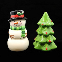 Snowman and Christmas Tree Salt and Pepper Shaker Set