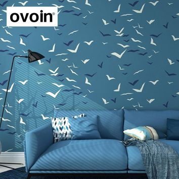Wallpaper For Walls in Roll Seagull Bird Blue Wallpaper Feature Wall Paper