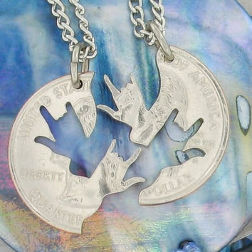 Interlocking Quarter I love You Hands Necklaces