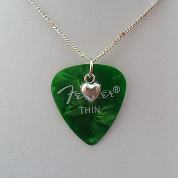 Fender Green guitar pick necklace with heart charm