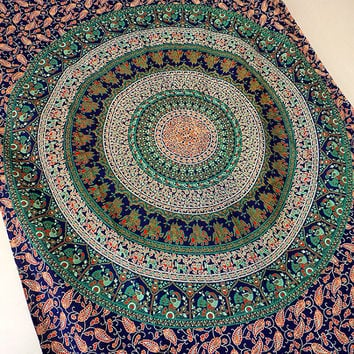 INDIAN cotton blue mandala tapestry cotton hippie wall hanging tapestries twin boho bohemian bedding throw ethnic wall home decorative art