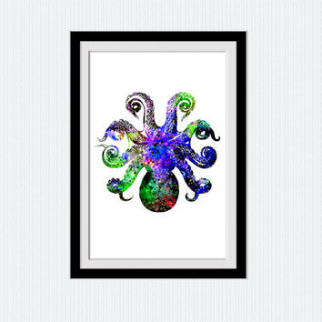 Nautical watercolor print Nautical poster Octopus print art Octopus colorful illustration Nursery decor art Home decor gift Kids room  W199