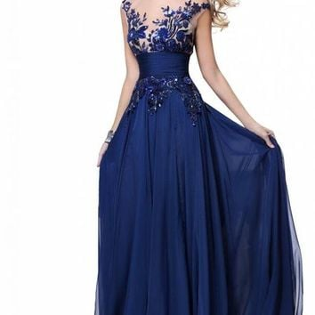 Babyonline Long Chiffon Bridesmaid Dresses Blue Party Gowns 2