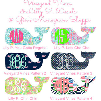 Monogrammed Whale Decal Vineyard Vines meets Lilly Pulitzer whale decal sticker in any size and pattern