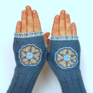 Hand Knitted Fingerless Gloves, Snowflakes,  Gift Ideas, For Her, Fashion Accessories, Winter Accessories, Gloves & Mittens, Blue, Christmas