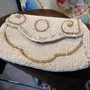 Vintage Bead Coin Purse Glass Micro Seed Bead Hand Beaded Evening Bag Wristlet Clutch Pouche 1930s Art Deco Bag Fold Over Flap