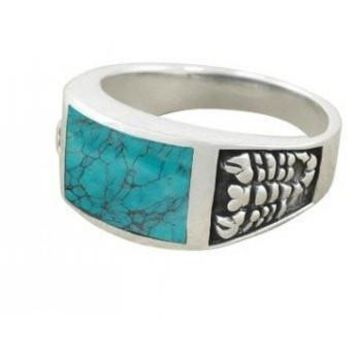 925 Sterling Silver Men's Scorpion Rectangular Genuine Turquoise Ring
