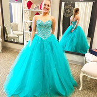 2017 New Turquoise Ball Gown Prom Dresses Sweetheart Corset Back Heavily Beaded Crystals Princess High School Prom Party Gowns