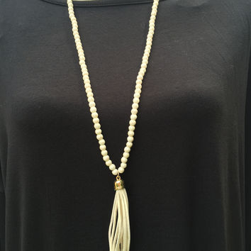 All Around Beads Tassel Necklace- Cream