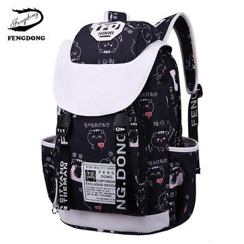 University College Backpack FengDong New Female Travel bag Emoji Junior High School Student   bagpack large Print book bags for women 2018AT_63_4