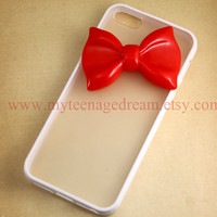 Iphone 5 Case, lovely red bow iphone 5 Hard Case iPhone Case 5 white side clear case
