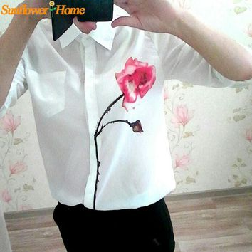 Chenier OPAL FERRIE - NEW  Design  White Full Sleeve Rose Flower Printed Blouse  Collar Chiffon Shirt