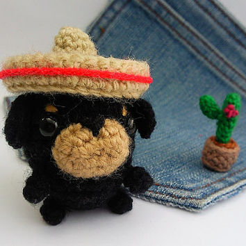 Amigurumi Dog,crochet Rottweiler with mexican hat and a cactus, Crochet dog, Dog plushie+mexican hat+cactus Rottweiler toy