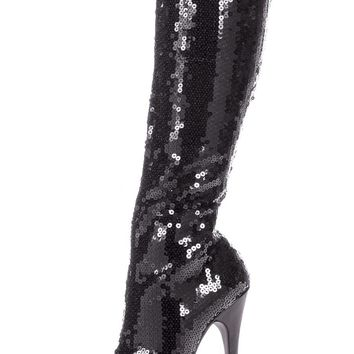 Women's Shoes 5 Inch Heel Sequins Knee Boot (9,Black)