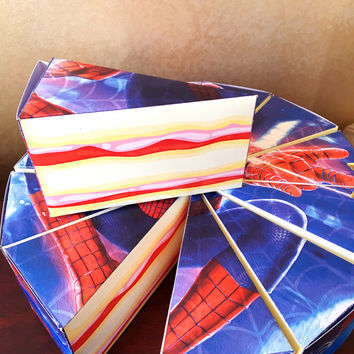 SpiderMan Birthday Party Favor Cake Slice Box - Printable Gift Box, Cake Boxes, Spiderman Party Favor Boxes, Digital File - INSTANT DOWNLOAD