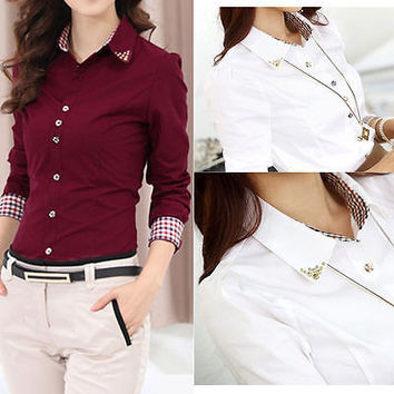 Fashion Women Long Sleeve Turn-down Collar Button OL Shirt Blouse Tops S M L XL