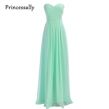 Mint Green Bridesmaid Dresses Long Sweetheart Chiffon Wedding Party Prom Dresses Cheap Under 50 Vestido De Festa De Casamento