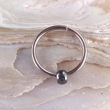 Seamless,Endless Septum Beaded Ring,Tragus Piercing Jewelry,Helix,Cartilage Silver